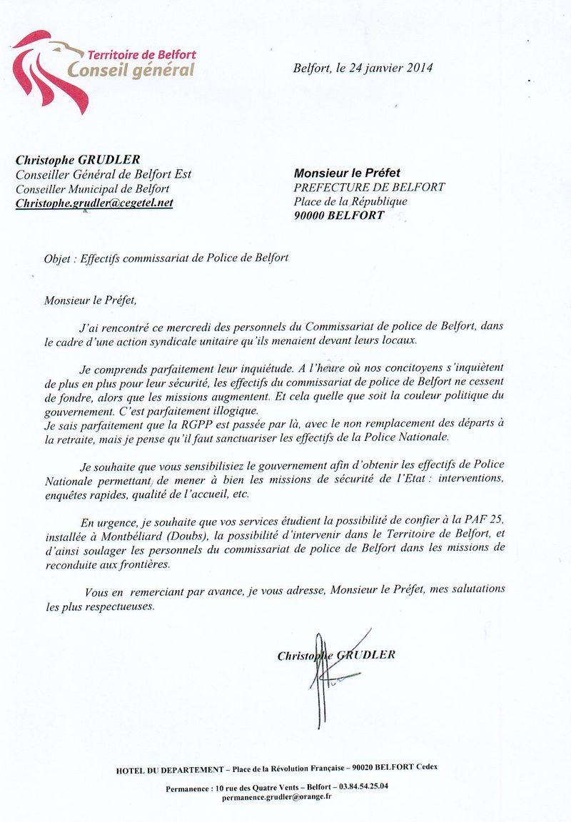 Copie courrier Préfet Belfort effectifs commissariat