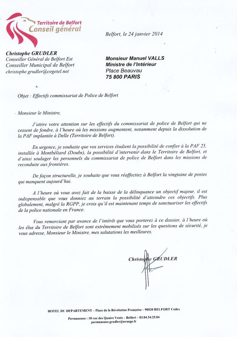 Copie courrier Manuel Valls effectifs commissariat Belfort